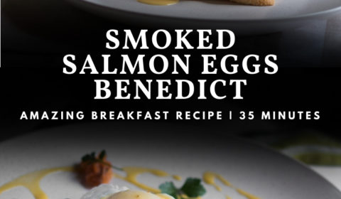 A smoked salmon eggs Benedict recipe presented in the form of a pin for Pinterest.