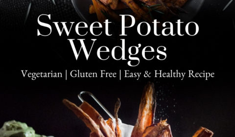 Sweet potato wedges presented in the form of a pin for Pinterest.