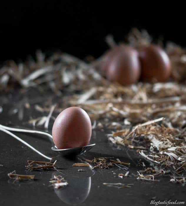 A photo of an egg in a spoon surrounded by hay and more eggs in the background.