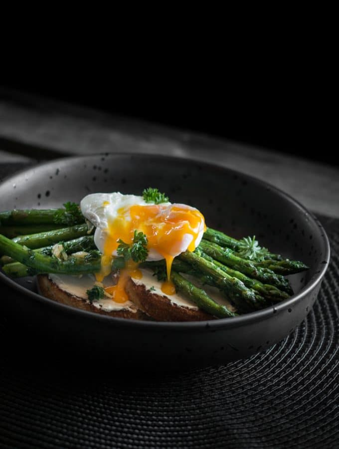 Cream Cheese, Asparagus and a Poached Egg on Toast