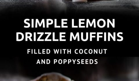 A coconut, poppyseed and lemon drizzle miffin recipe presented in the form of a pin for Pinterest.