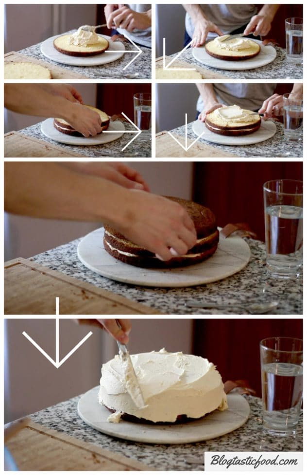 A step buy step guide showing how to layer a cake.