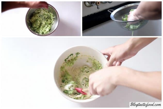 A step by step series of photos showing how to squeeze the moisture out of grated zucchini