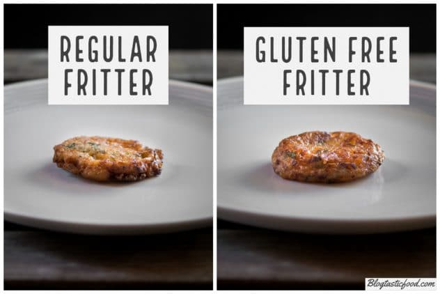 1 photo of a zucchini made with wheat flour, and another photo beside it of a zucchini fritter made with gluten free flour.