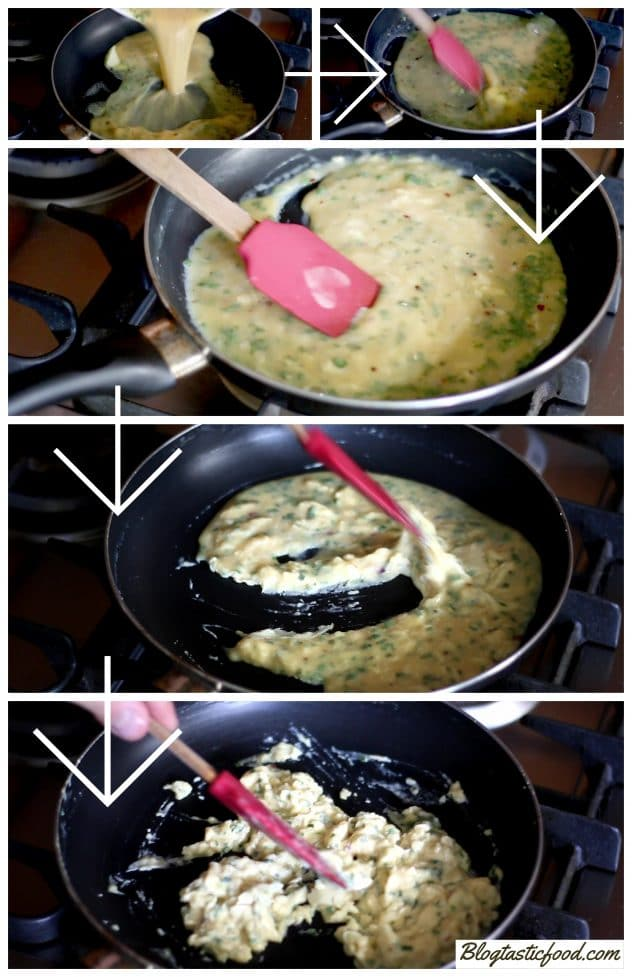 A collage featuring step by step photos showing how to cook scrambled eggs.