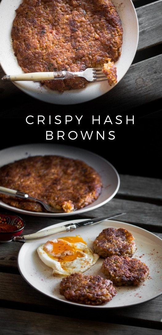 A hash brown recipe presented in the form of a pin for Pinterest.