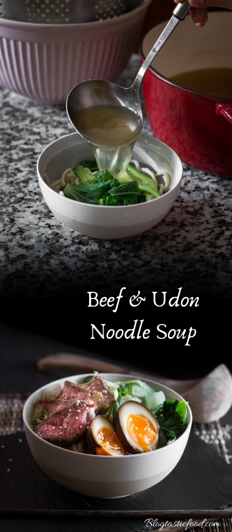 A beef and udon noodle soup recipe presented in the form of a pin.