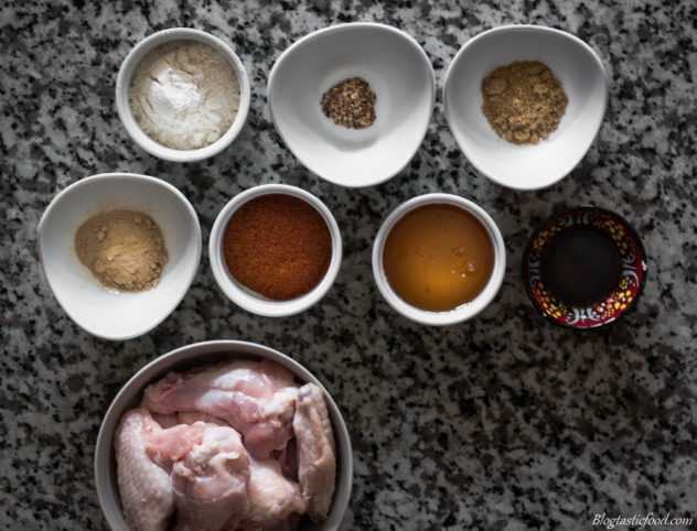 An overhead photo of all the ingredients for the honey soy mustard chicken wings.