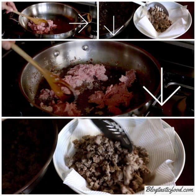 A collage of photos showing how I fry meat in 2 batches.