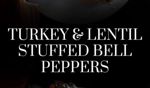 A turkey and lentil stuffed bell pepper recipe presented in the form of a pin for Pinterest.