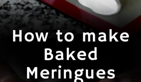 A meringue recipe presented in the form of a pin for Pinterest.