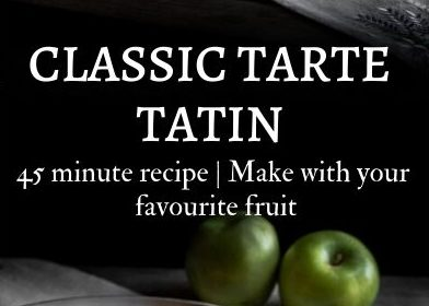 A classic tarte tatin recipe presented in the form of a pin for Pinterest.