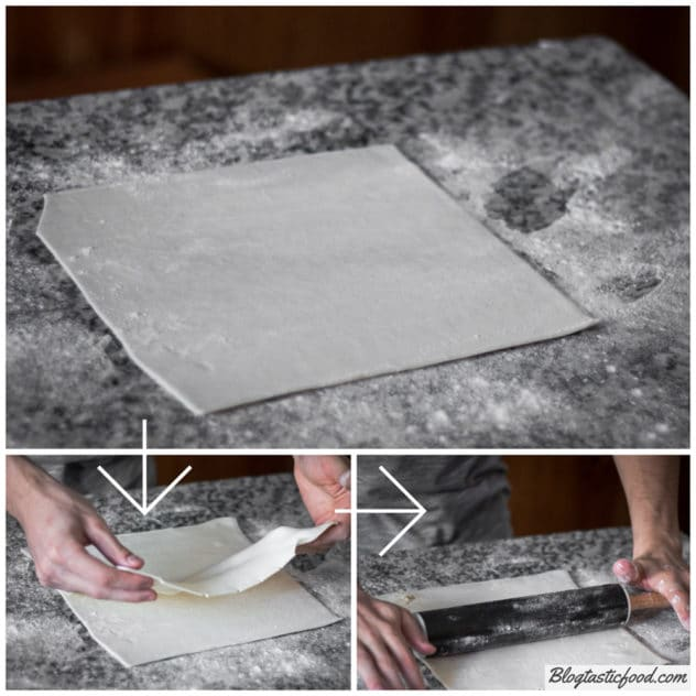 A step by step guide showing how to roll 2 sheets of puff pastry together.