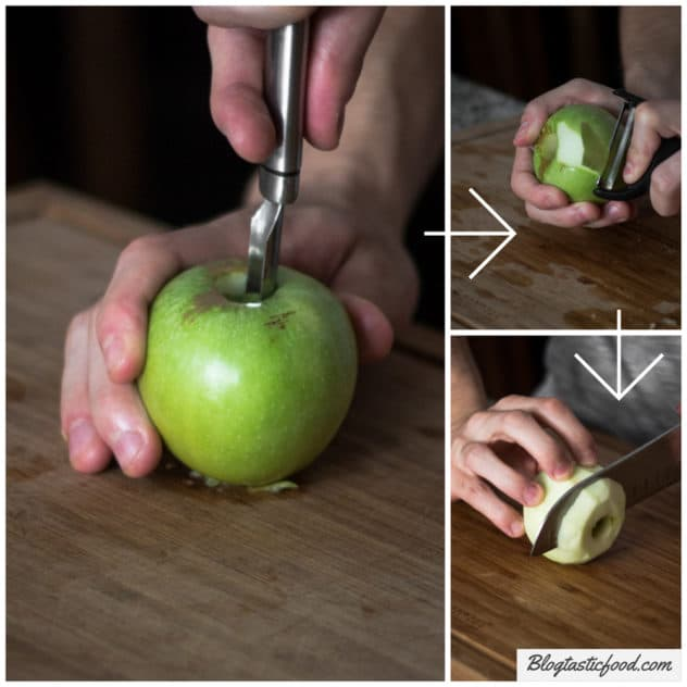 A step by step guide showing how I like to core, peel and cut apples for a tarte tatin.