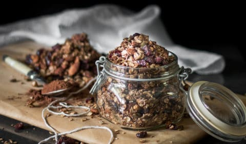 A photo of chocolate flavoured granola in a jar.
