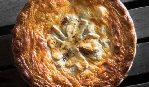 A overhead photo of a pie that has just been cooked.