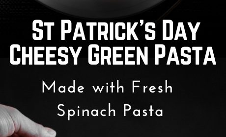 A cheesy green sausage pasta recipe presented in the form of a pin for Pinterest.