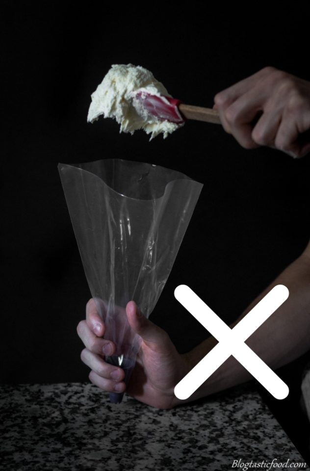 A photo showing how to incorrectly fill a piping bag.