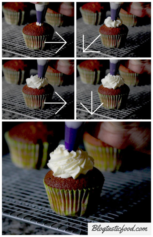 A step by step series on photos showing how to pipe butter-cream on a cupcake.