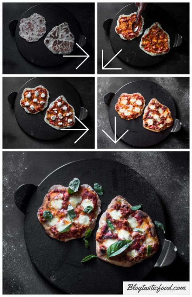 A step by step series of photo of a simple pizza being made using homemade flatbread.