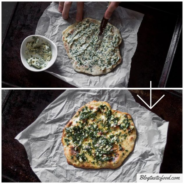 2 photos demonstrating how I made garlic bread using flatbread.