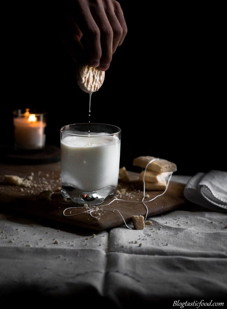 Shortbread Biscuit Dunked in Milk