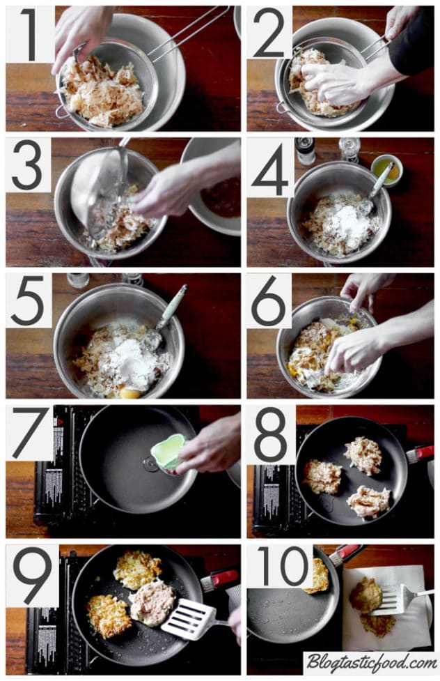 A step by step series of photos showing how to make grated potato cakes.
