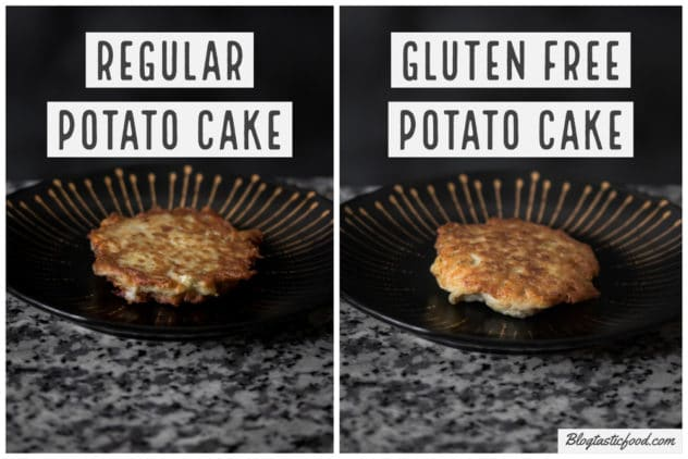 2 photos in the form of a collage showing the difference between a regular potato cake and a gluten free potato cake.