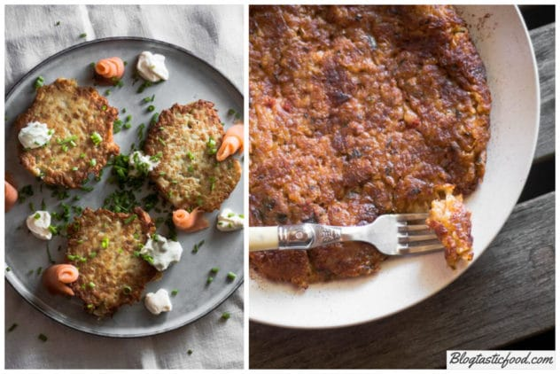 2 photos in the form of a collage showing the difference between potato cakes and hash browns.