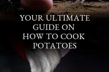 A guide on cooking potatoes presented in the form of a pin for Pinterest.