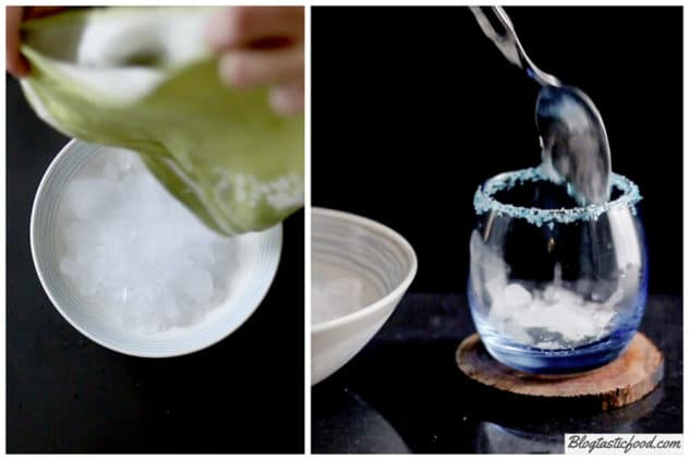 2 photos side by side. One showing ice being transferred to a bowl, and the other showing that ice being spooned into a glass.