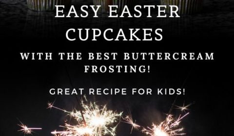 An Easter cupcake recipe presented in the form of a pin for Pinterest.