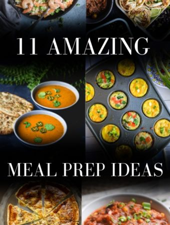 A front cover for an 11 meal prep idea post.