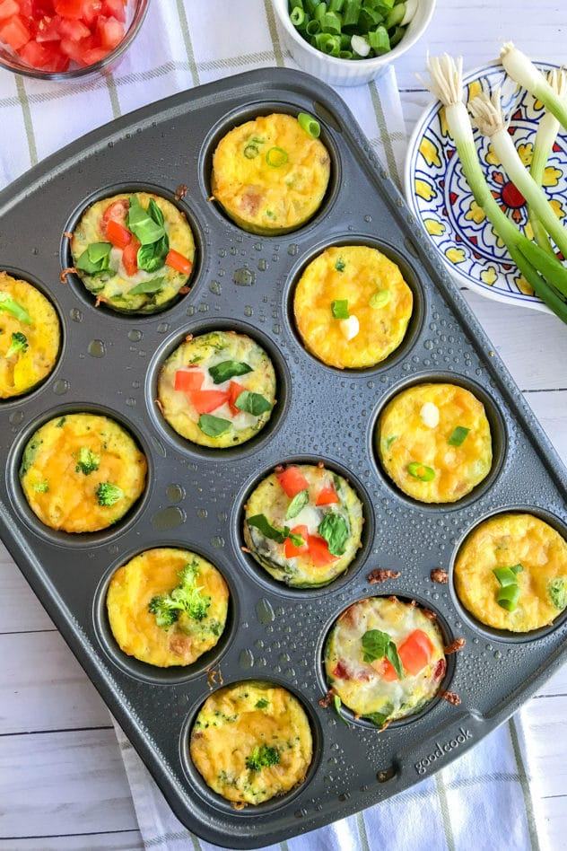 An overhead photo of mini frittatas cooked cooked and served in a muffin tray.
