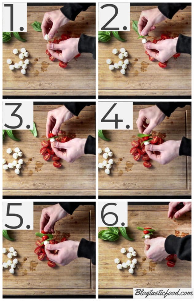 A step by step series of photos showing how to prepare a mini caprese skewer.