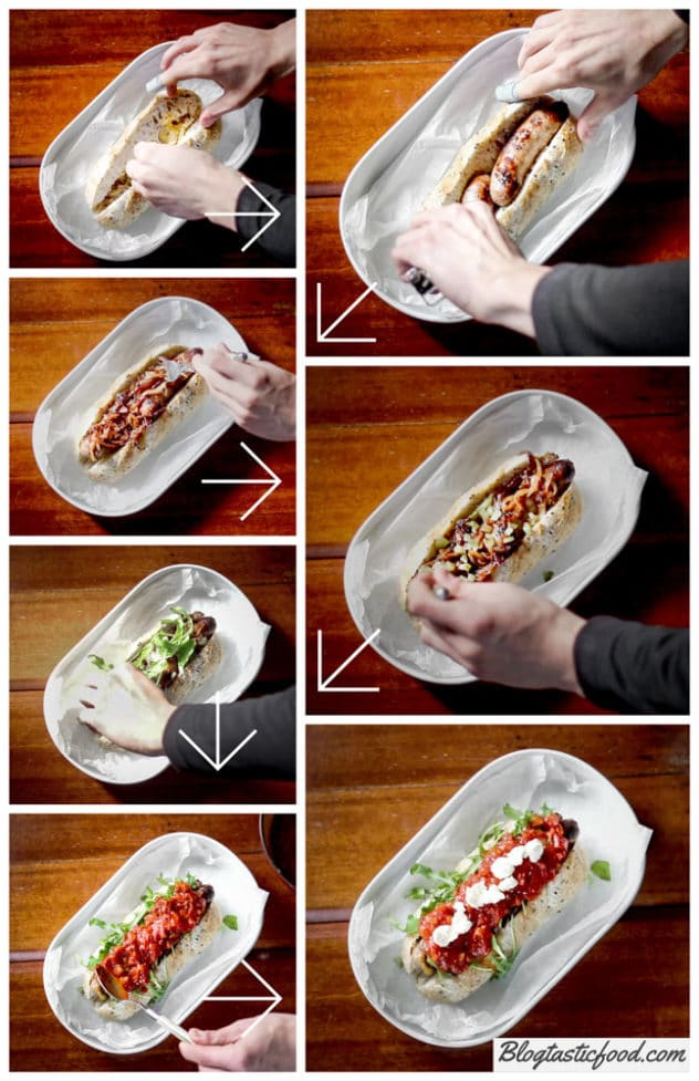A step by step collage showing an chilli hot dog being stacked.