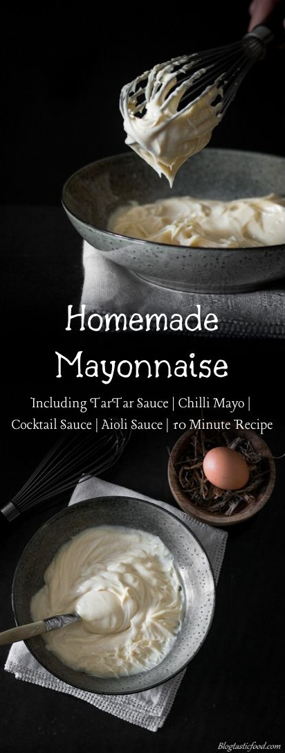 A homemade mayonnaise recipe presented in the form of a pin for Pinterest.