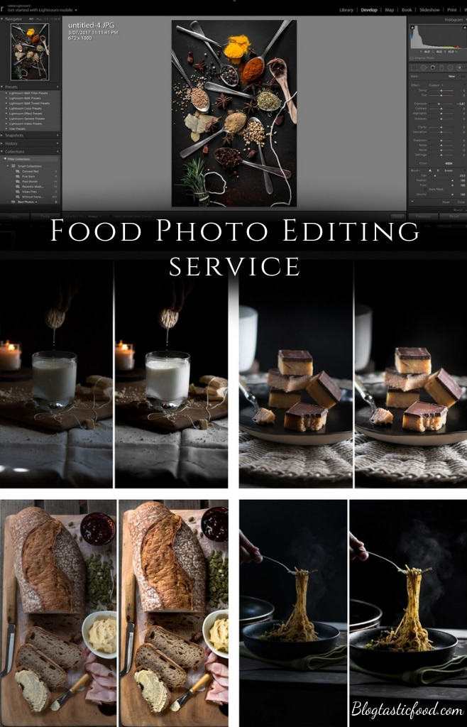 A food photo editing service web page presented in the form of a pin for Pinterest.