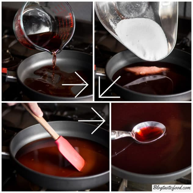 A step by step series of photos showing how to make grenadine.