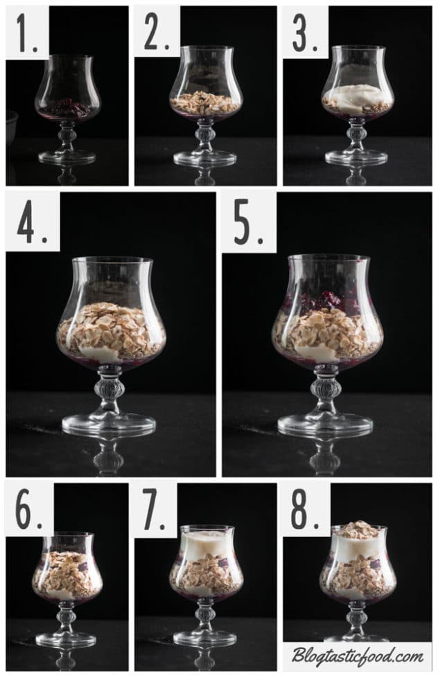 A step by step series of photos showing how to layer a breakfast parfait with oats, berries and honey yogurt.