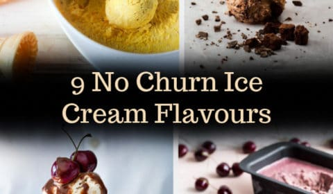 A no churn ice cream roundup post presnted in the form of a pin for Pinterest.
