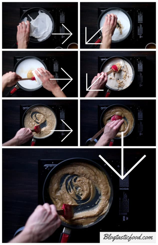 A step by step series of photos showing how to make peanut sauce.
