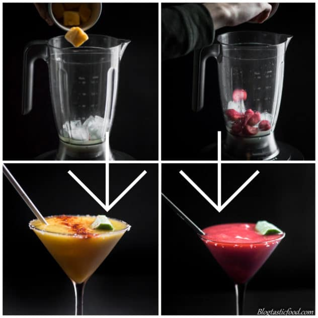A photo showing how I used frozen mango and frozen strawberries to make fruity frozen margaritas.