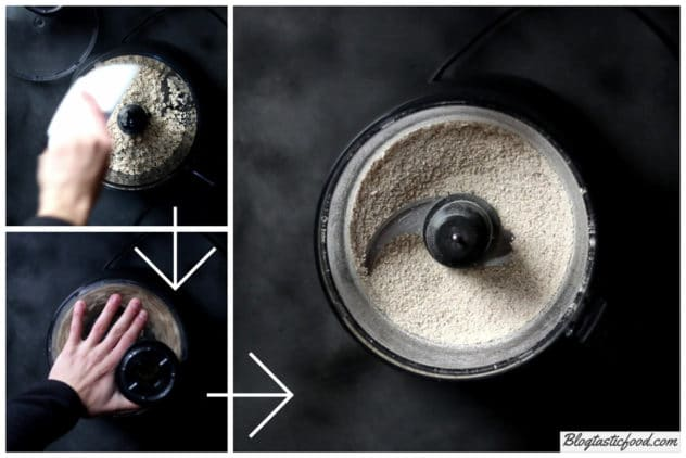 A step by step collage showing how to process rolled oats into a powder.