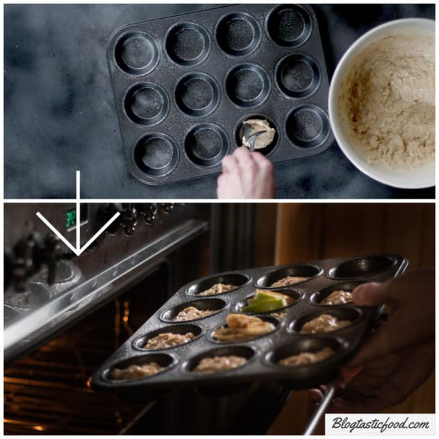 A collage of someone putting muffin batter into a muffin tray, then putting that tray in the oven.