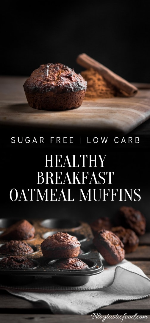 An apple cinnamon healthy oatmeal muffin recipe presented in the form of a pin for Pinterest.