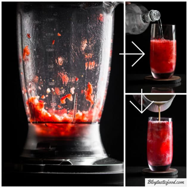 A step by step collage showing how to make an IT movie cocktail with strawberries.