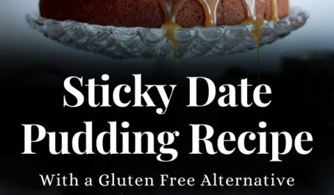 A sticky date pudding recipe presented in the form of a pin for Pinterest.