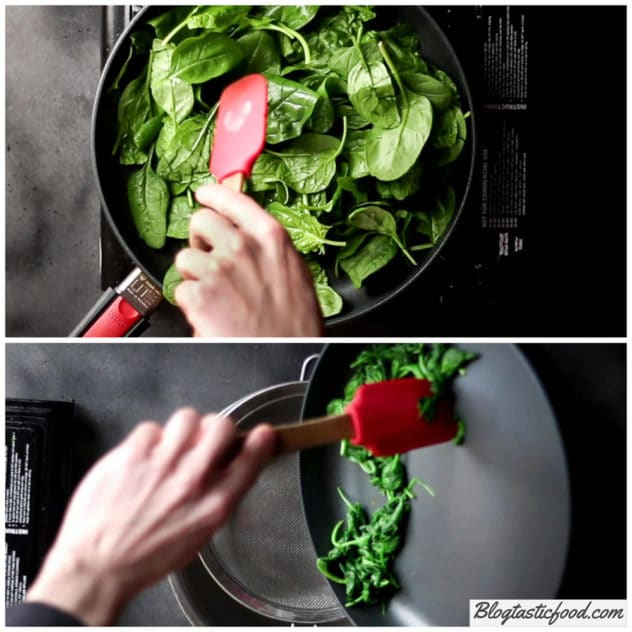 A collage of photos showing spinach being wilted in a hot pan.