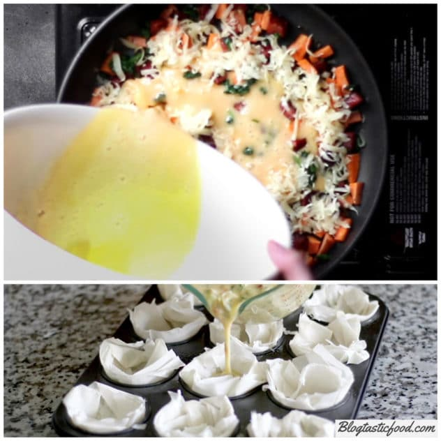 A collage of 2 photos, 1 showng me adding egg content to make frittata, and 1 showing how the egg content is added to make mini quiches.